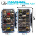 Promo 180pcs Wet Dry Fly Fishing Flies Lure Set Kit Fly Tying Material Nymph Wet hand tied Flies for Trout Pike grayling