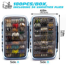 Promo Classic 180pcs Wet Dry Fly Fishing Flies Set Kit Tying Material Lure Nymph for Trout Bass Pike Carp Assort Selections