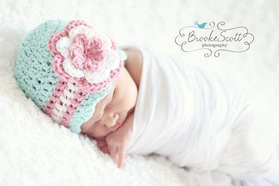 Crochet Baby Hat, Newborn Crochet Girls Hat,Handmade Baby Beanie, Baby Hat for Girls, Baby Hat With Flower,Newborn Photo Prop
