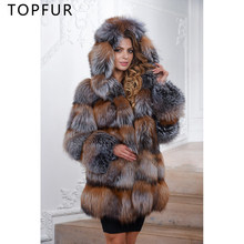 TOPFUR 2019 New Fashion Winter Natural Real Fox Fur Coat For Women Jacket With Hood Luxury Loose Outwear Full Sleeves