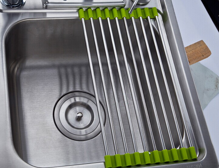 Stainless Steel Kitchen Sink Folding Draining Board Rollable ...