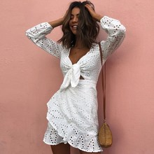 2019 New Casual Holiday Elegant Embroidery Lace Dress Hollow Out Ruffled White Summer Vestidos