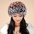 Alta Calidad 2016 nuevo otoño y el invierno del sombrero de piel de señora de lana Rex gorro de lana de punto warm winter Envío Gratis 1colorTM14