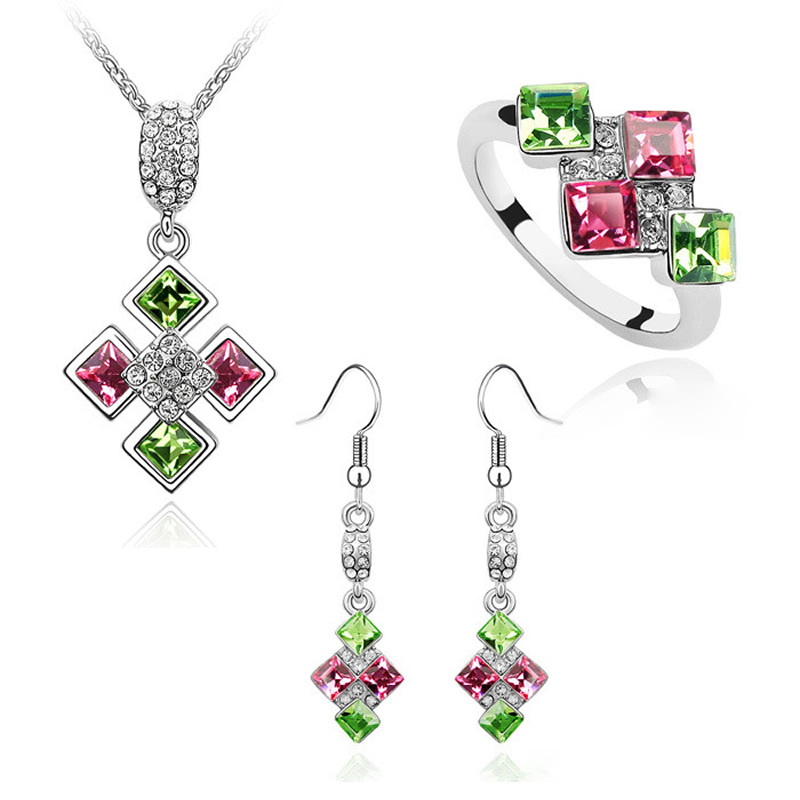 b84765f306 Unique Romantic Wedding Party Jewelry Set Crystal from Swarovski Woman Sexy  Elements Pendant Necklace Ring Drop