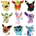 9 pcs/set poke Eevee Family Plush Toys Doll Stuffed Animals Eevee Espeon Jolteon Vaporeon Flareon Glaceon Pikachu Plush Toys