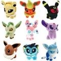 9 pcs/set poke Eevee Family Plush Toys Doll Stuffed Animals Eevee Espeon Jolteon Vaporeon Flareon Glaceon Pikachu Plush Toys