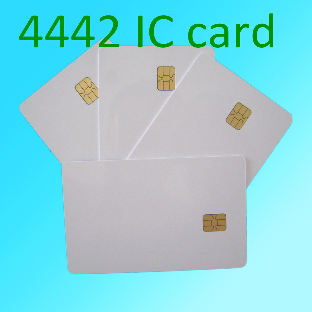 50pcs ISO 7816 Blank White Pvc Chip CR80 Standard Size SLE4442 Plastic Contact Smart Card