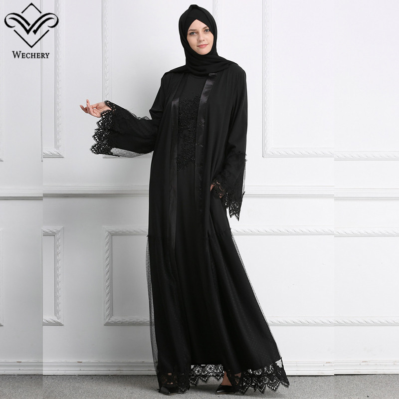 Wechery Black Muslim Dress Open Lace Maxi Abaya Dresses for Women Elegant Plus Size Jilbab Bangladesh Dubai Abaya