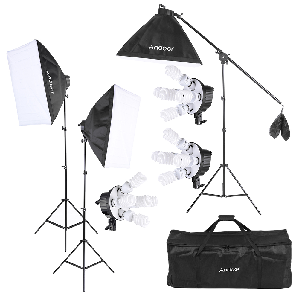 Andoer Studio Photo Video Softbox Lighting Kit Photo Equipment 15x45W Bulb 3x5in1 Bulb Socket 3 x