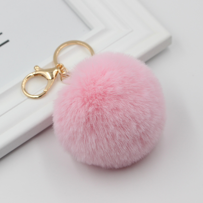 8cm Faux Rabbit Fur Ball Keychain Fur Pompom Key Chains Llaveros  Fluffy Fur Pompons Bag Pendant Key Chain Porte Clef Trinkets