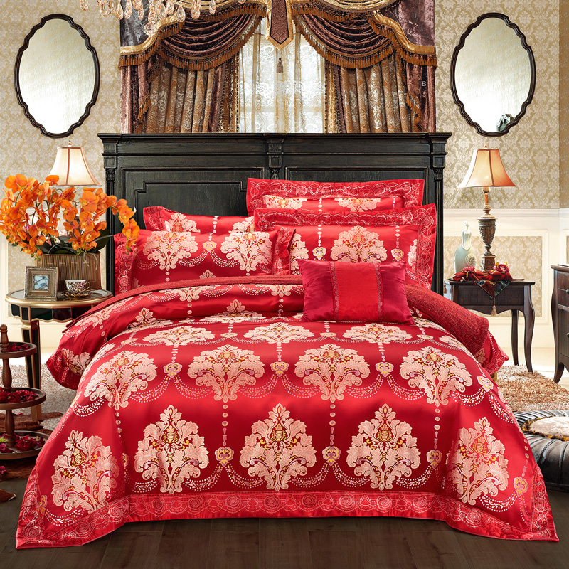 4Pieces King Queen size Luxury Satin Cotton Wedding Royal Bedding set  Duvet cover Bed sheet set Pillowcase Bedclothes