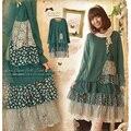 Mulheres primavera casual sweet kawaii japonês plad padrão de retalhos de algodão do vintage de manga comprida bonito feminino dress mori menina c237