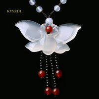 KYSZDL Natural White Chalcedony Butterfly Pendant Fashion Ladies sweater chain ma nao/stone pendant jewelry wholesale