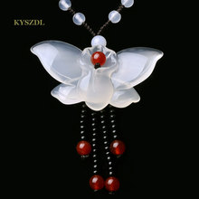 KYSZDL Натуральный Белый Халцедон Кулон Бабочки Мода Дамы свитер цепи ма нао/камень кулон ювелирные изделия оптом