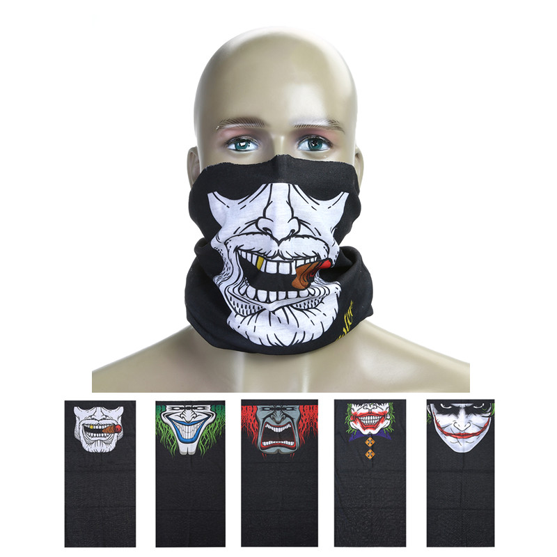 Halloween Skull Ghost Pattern Motorcycle Cycling Mask Autumn Winter Face Shield Scarf Moto Outdoor Neck Face Masks Balaclava cycling motorcycle head scarf neck warmer face mask ski balaclava headband face shield skull mask