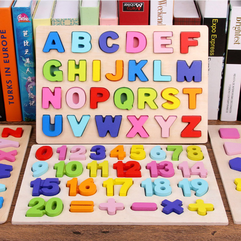 Wooden Alphabet Puzzle ABC Jigsaws Chunky Letters Early Learning Toys For Kindergarten And Toddlers-est Educational Toy Preschoo
