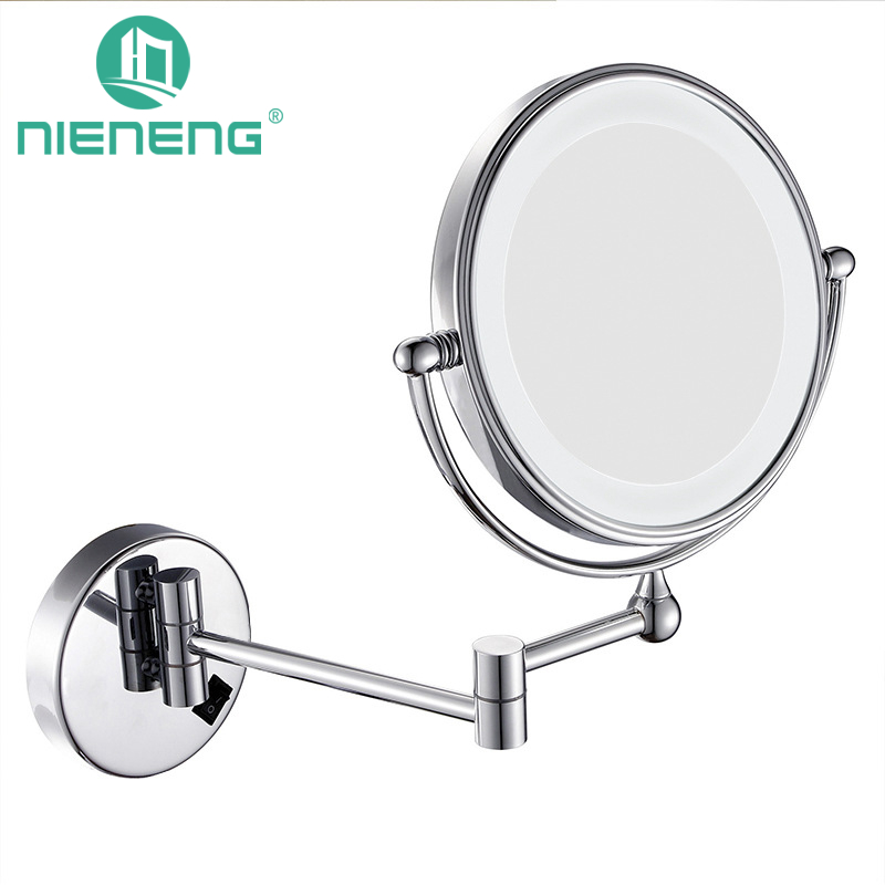 Nieneng LED Makeup Mirrors 90-260V Double Side LED Light Mirror Make Up 3X 10X Metal Bath Mirror Toilet Mirror ICD60527 цена