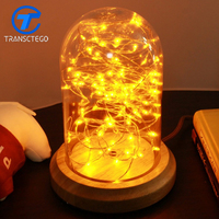 The glass lamp retro bedside lamp LED warm wood bar Coffee personality shop decoration lamp