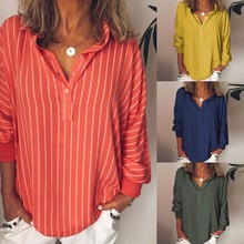 Shirt Woman Loose Casual Striped Button Lapel Long Sleeve Shirts Top Vintage Blouse womens tops and blouses c0603