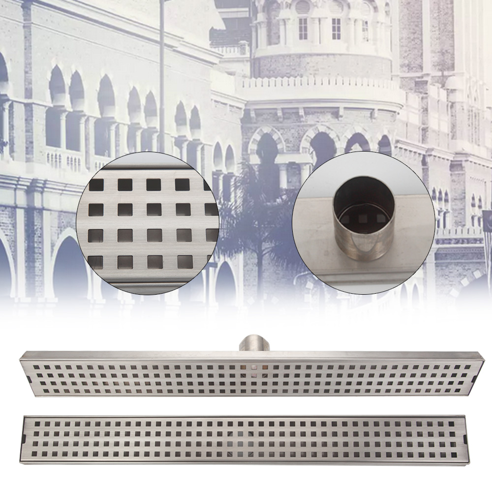 Stainless Steel Tile Insert Linear Long Shower Grate Bathroom Floor Drain Kitchen Waste Drain mayitr stainless steel linear shower ground floor drain grate mesh sink strainer bathroom tool 900mm