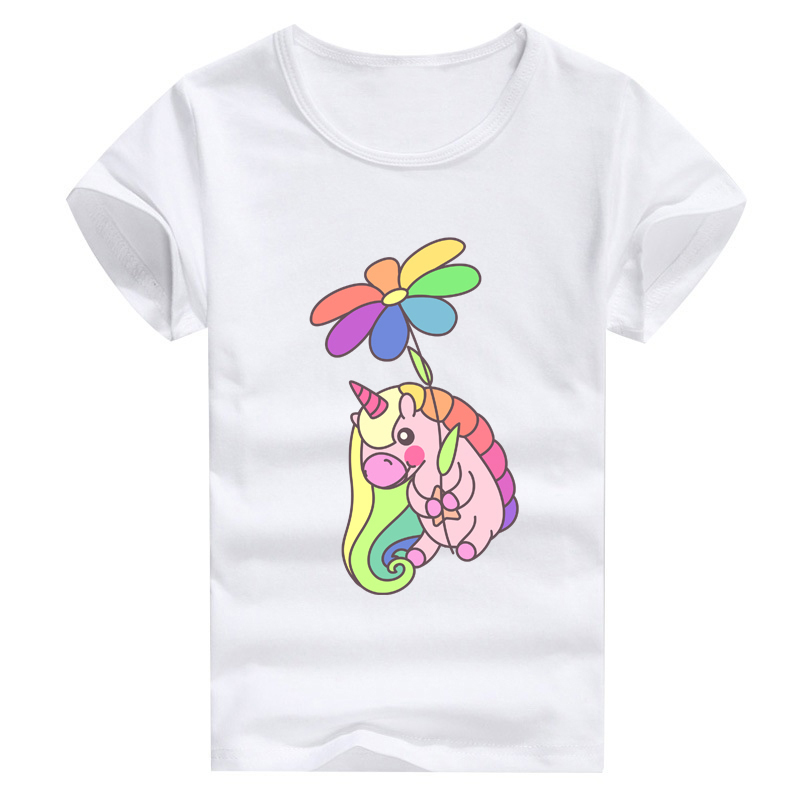 cute unicorn seven colored flowers print kids and men and women tshirt summer wholesales