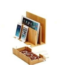 Новый Мульти-Устройства Бамбука Зарядное Устройство Док Коробки Планшетные Стенды для ipad air 2 iPhone 7 Плюс MacBook EM88