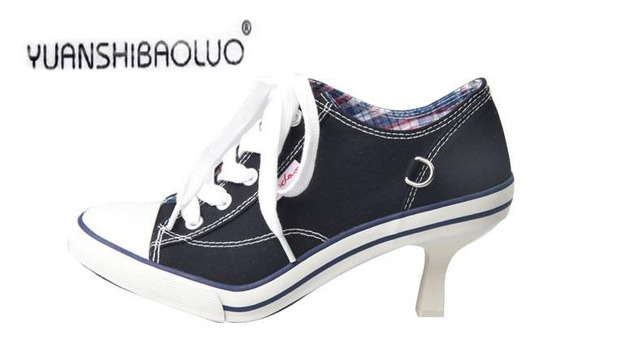 In 2016 the new denim canvas slippers High heel fashion shoes with sexy casual and comfortable shoes holiday gifts