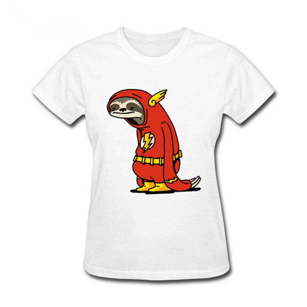 2019 Summer Funny Sloth The Flash women T-shirt super hero Red Sloth tshirt harajuku Tops natural cotton Ms Tees