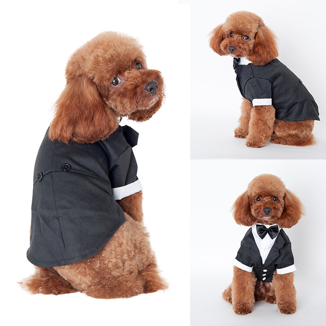 Hot Pet Dogs Cat Clothing Prince Wedding Suit Tuxedo Bow Tie Puppy ...
