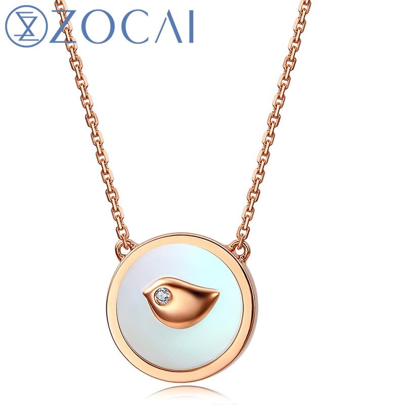 ᐂZocai el poco Urraca real 0.006 CT diamante collar 18 K oro (Au750 ...