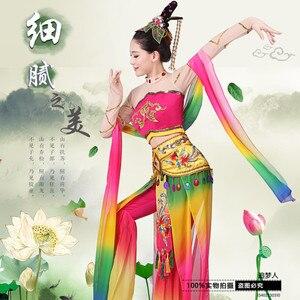 Image 3 - דונהואנג מעופף ריקוד תלבושות ירח ריקוד לאומי בלט תלבושות ריקוד קלאסי Fanxian מיאו עופרת פיות בגדים