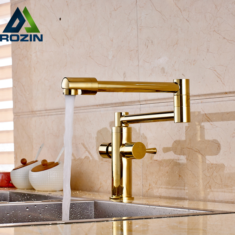 Golden Luxury Hot and Cold Water Kitchen Faucet Dual Handle Deck Mounted Brass Mixers Stretch Folding Neck