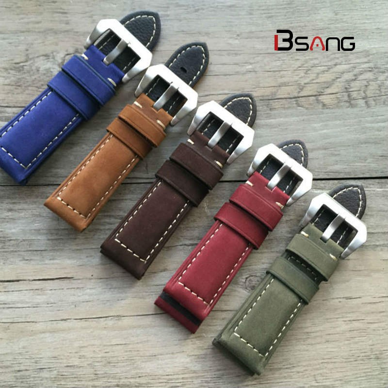 High Quality PAM 20MM / 22MM / 24MM /26MM Strap Genuine Leather Watch Band Straps Silver Black red Brown Gray Strap high quality 18mm 20mm 22mm 24mm 26mm strap genuine leather watch band for nato straps silver black brown gray strap
