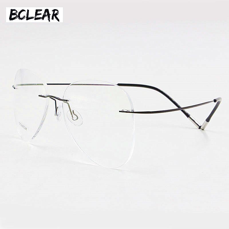 BCLEAR Titanium Rimless Fashion Designer Eyeglasses Optical Glasses Frame Men and Women Eyewear Lightweight Flexible Spectacle