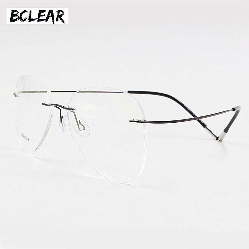 BCLEAR Titanium Rimless Fashion Designer Eyeglasses Optical Glasses Frame Men and Women Eyewear Lightweight Flexible SpectacleMens Eyewear Frames   -