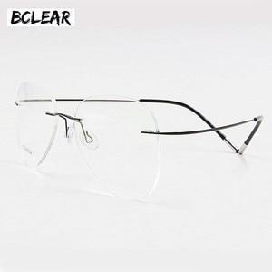 Image 1 - BCLEAR טיטניום ללא שפה אופנה מעצב משקפיים אופטי משקפיים מסגרת גברים ונשים Eyewear קל משקל גמיש מחזה