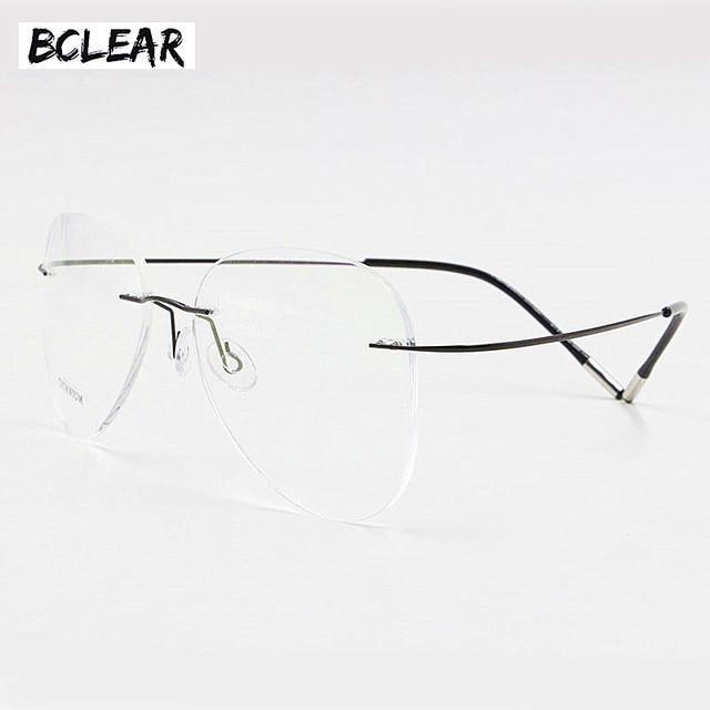 Bclearチタンリムレスファッションデザイナー眼鏡光学メガネフレーム男性と女性眼鏡軽量柔軟な眼鏡