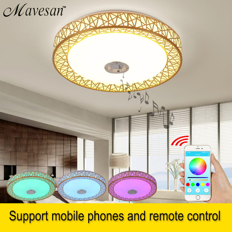 Mumeng Rgb Ceiling Light 36w Dimmable Colorful Party Lamp Bluetooth Speaker Music Audio Luminaria 90-265v Metal Acrylic Fixture Lights & Lighting