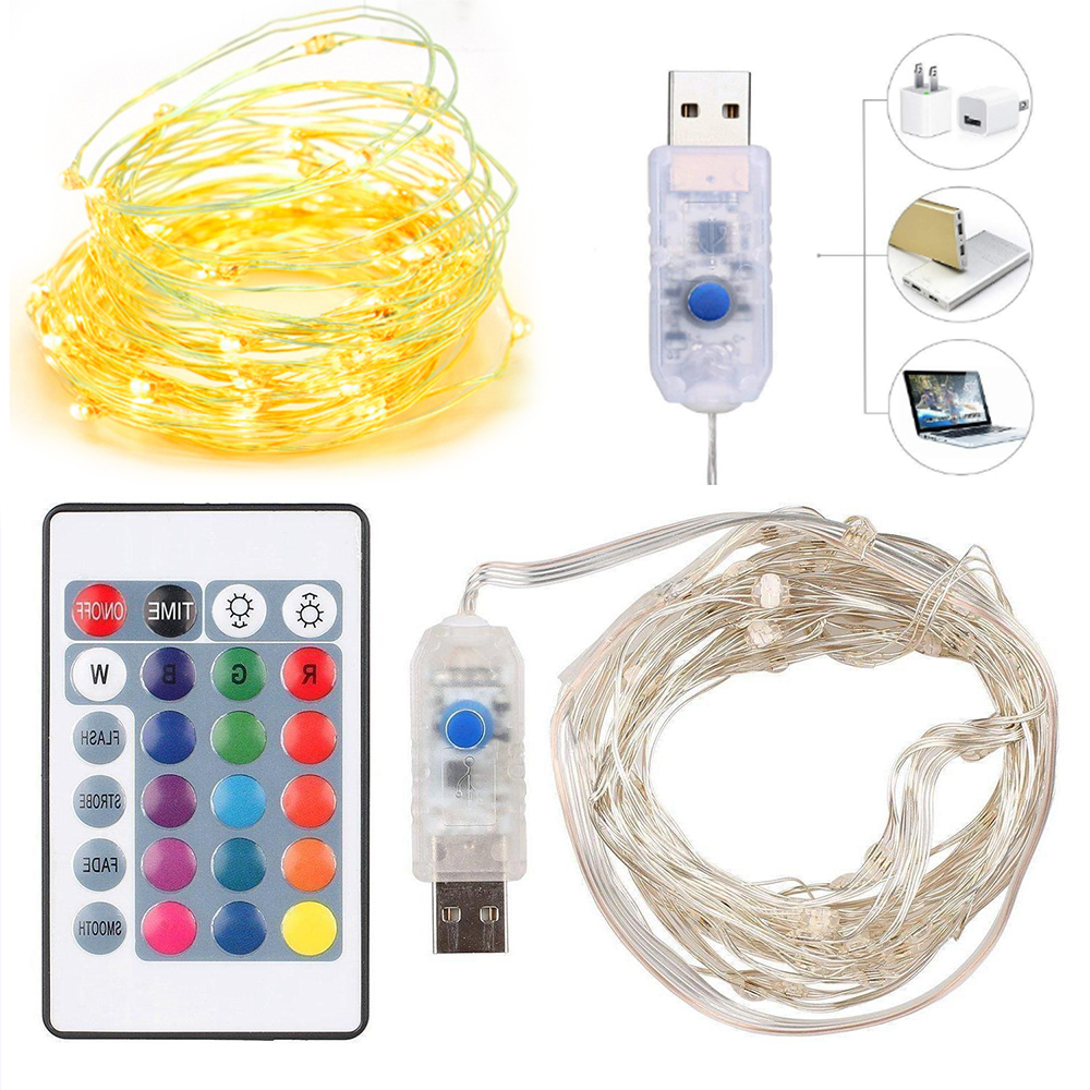 24 Button Remote LED String Lights 5M Copper Wire Fairy Light Christmas Wedding Party Decorate Powered By Battery USB Strip Lamp