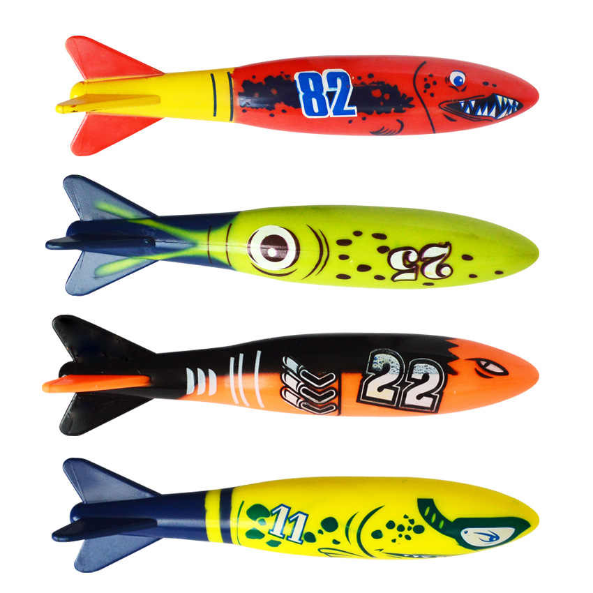 4 шт./компл. Торпедо ракета метание Игрушка Летние торпеды бандиты дети Подводные Ракеты Игрушка Забавный Плавание Дайвинг игра игрушка