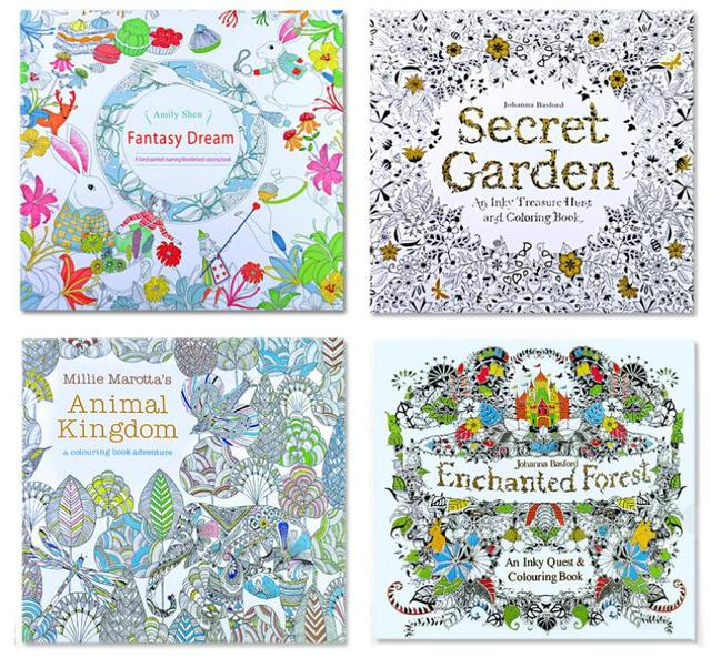 4 PCS 24 Pages Mixed Styles Relieve Stress For Kids Adult Fantasy Dream Painting Drawing Secret