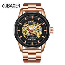 OUBAOER Luxury Brand Men Watch Rose Gold Steel Automatic Skeleton Mechanical Watch Men Sport Waterproof Casual Wristwatch Clock