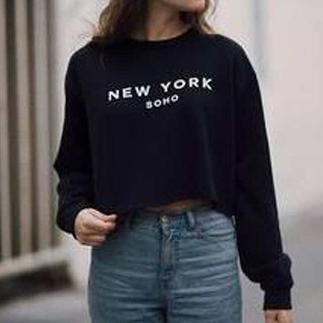 Aumtumn Ernte Hoodie Frauen Harajuku New York Sweatshirt Brief Gedruckt  Langarm-warm Fleece Cropped Hoodies 7be209cdd2