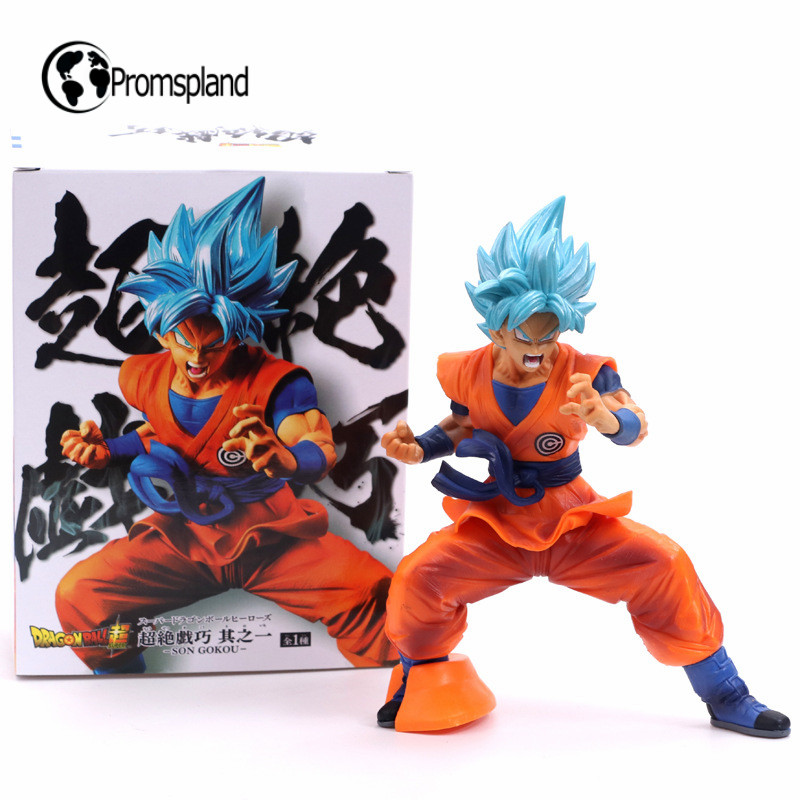 Anime Blue Hair Goku Super Saiyan God Action Figures PVC Collection Model Figure Home Decoration Toys For Kids Retail Box 18cm image