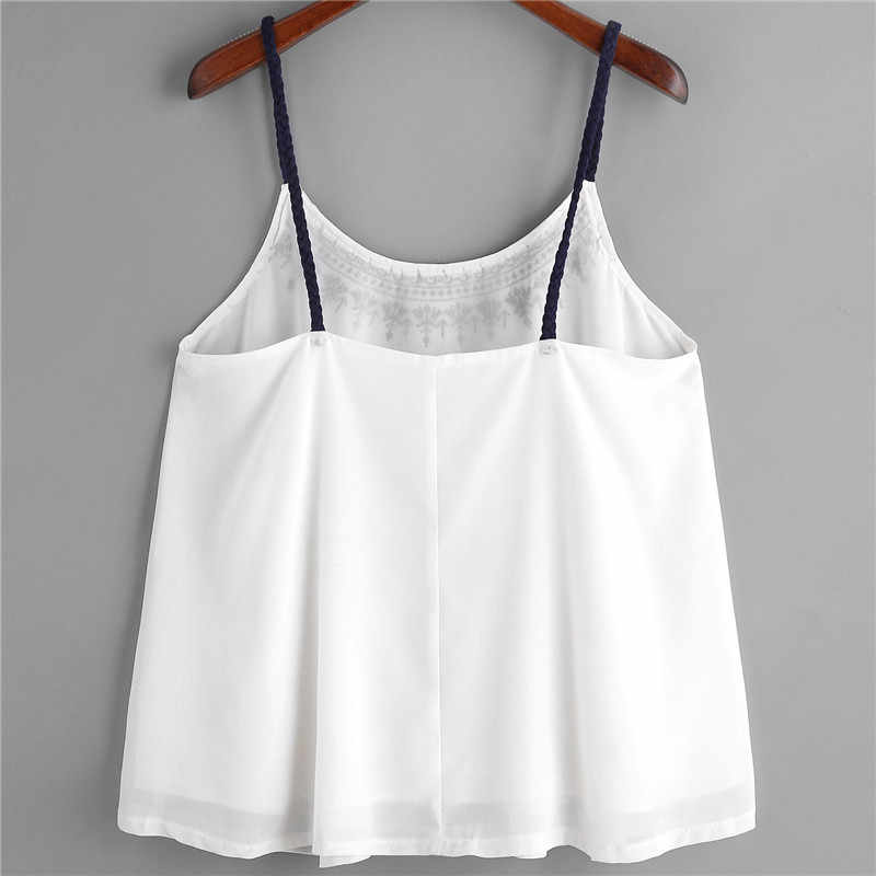 Dropship Women Sleeveless Tank Tops Embroidered Chiffon Cami Top Blouse jun1318