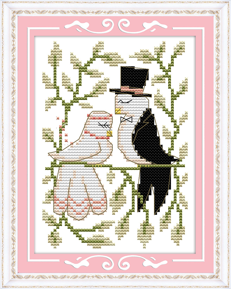 ᑎ‰Casamento feliz aves Lona DMC Contados Kits de Ponto de Cruz ...