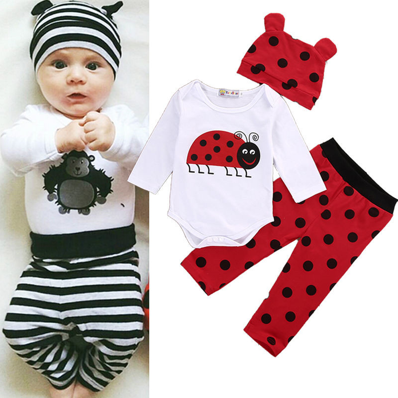 3 PCS Autumn Winter Newborn kids long sleeve Ladybugs Gorillas set Baby Boy Girl Rompers Top Striped Leggings Pants Outfit Set bell sleeve striped off shoulder top