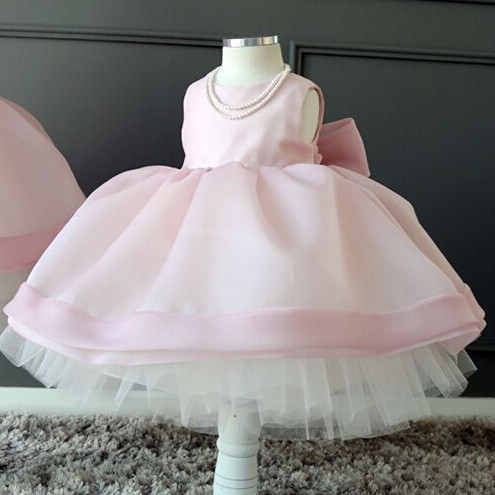 BABY WOW Formal Gowns Baby Girls Dresses Clothing Wedding Dress Flower Girl Dresses Simple Pink for