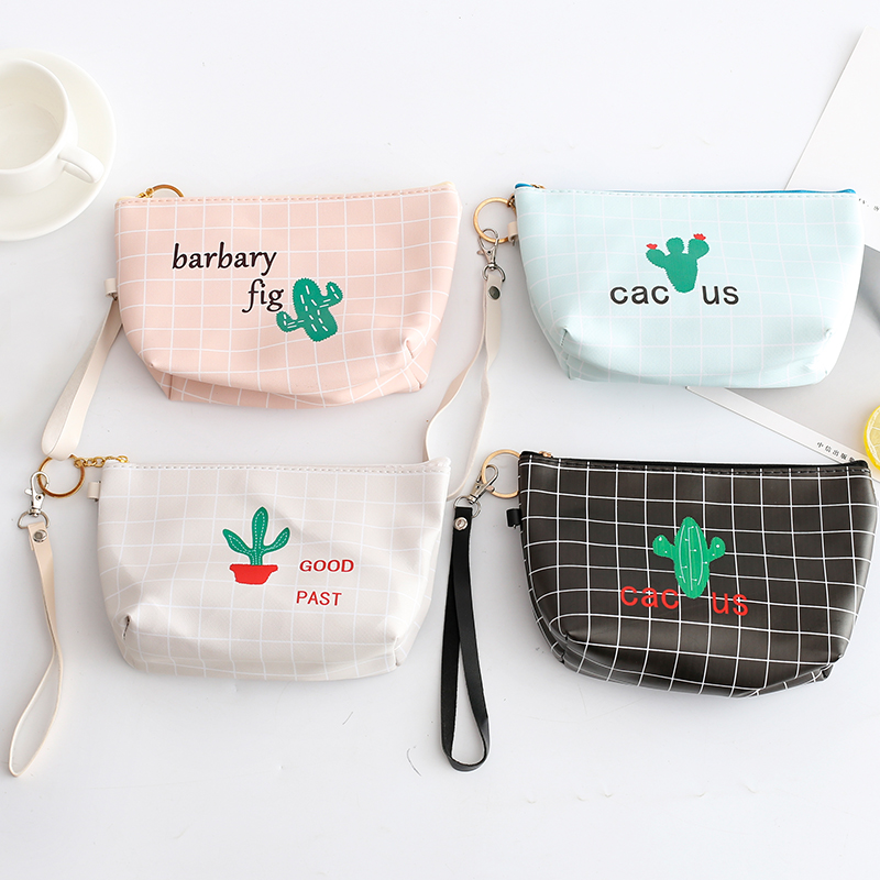 Cute Cactus Stationery Holder Bag Creative Large Capacity Waterproof Stationery Storage Bag