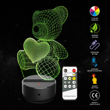 New Love Bear 3D Illusion Lamp 7 Color Change Touch Switch LED Night Light Acrylic Desk Atmosphere Novelty Lighting
